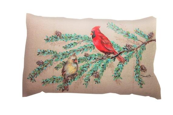 Cardinal Pillow Cover Hand Painted Decorative Pillow Bird