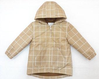 Toddler Raincoat - Warm Baby Parka - Beige Parka - Plaid Fleece Parka - Hooded Jacket - Stylish Raincoat - Parka For Boy - Parka for Girl