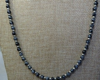 Snowflake Obsidian Necklace Silver Glass Beads. ( SFO2-17)