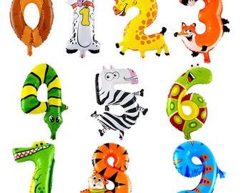 "16"" Animal Number Balloon/Birthday Party Decorations/Safari Theme Party"