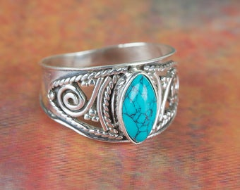 Turquoise Ring, Sterling Silver Turquoise Ring, December Birthstone Jewellery, Cocktail Ring, Handmade Jewellery, Gift For Her, BJR-429-TU