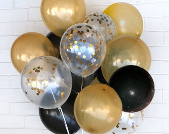 Gold & Black Confetti Balloons - Celebration, Wedding, Birthday, Party - AU Free Shipping