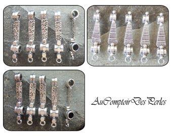 5 larges holes bars connectors Cléo, 1 loop antique silver 9x45mm