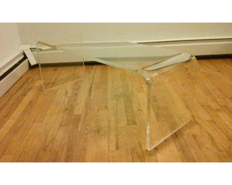 Mid Century Modern Lucite Waterfall Bench/Coffee Table