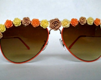 Embellished Sunglasses Peach Aviators With Neutral Flowers