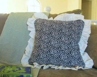 Ruffle Pillow Cover/ 18x18 in
