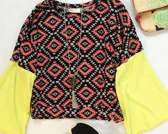 Aztec Sweater with Neon Bell Sleeves