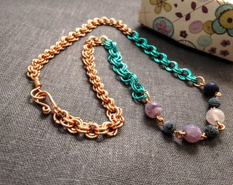Beaded necklace, Chain maille necklace, gemstone necklace, gemstone jewelry, Agate necklace, Frosted agate, everyday jewellery