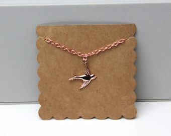 Rose Gold Swallow Necklace // dainty rose gold necklace // with gift packaging