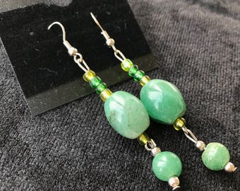 Green Sphere & Oval Earrings