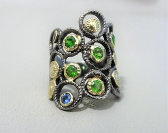 Unique 925 silver ring with blue sapphire and tsavorite - Statement ring - gift for woman - mothersday gift