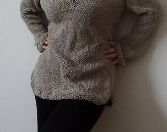 Cotton, Linen Sweater,  Summer Jumper, Knitted Sweater, Women Cotton and Linen Pullover, Ready to Ship, Handmade sweater, Handknit, Handmade