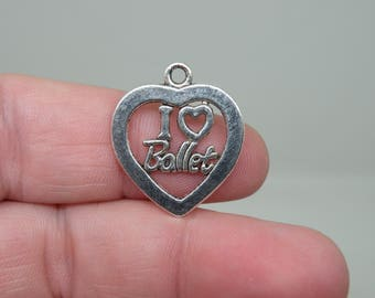 "10 Silver Tone ""I love Ballet"" Heart Charms. B-021"