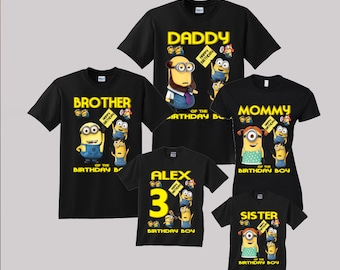 Minions Birthday Shirt Custom personalized shirts for all family, Black s2