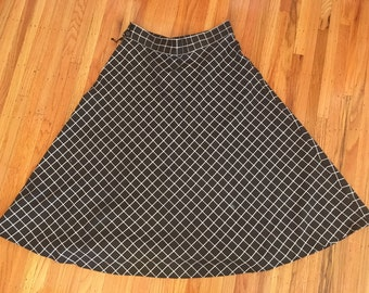 Vintage black and white check skirt