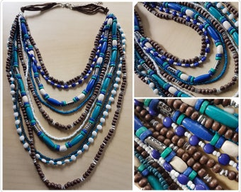 Funky multi strand necklace - cool colours - beaded necklace - handmade multi strand necklace