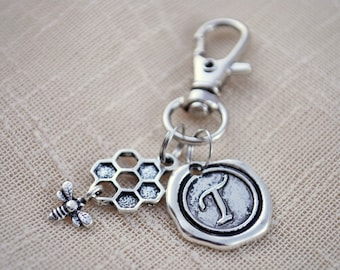 Honeycomb keychain, FREE SHIPPING, personalized bee keychain, Christmas gift, silver keyring