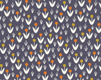"""Fabric Remnant - Dotty Blooms in Navy - Morning Song Collection - Cloud 9 Organics - 14""""x20"""""""