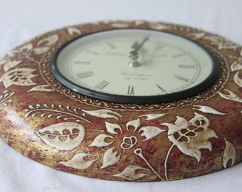 Handmade Wooden Flower Motif Wall Clock, Vintage Wall Clock, Rustic Wall Clock, Large Wall Clock,Wall Clock with Roman Numbers, Indian Clock