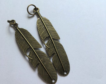 Feather Zipper Charms - 6cm Bronze