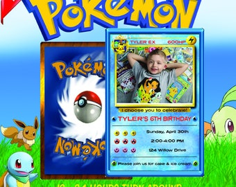 pokemon invitation, pokemon birthday invitation, pokemon birthday, pokemon card, pokemon party, pokemon invite, pokemon go, pokemon Blue