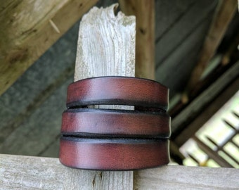 Leather Cuff Bracelet,  Triple Stack, Leather Bracelet, Leather Cuff, Leather Jewelry, Genuine Leather, Handcrafted