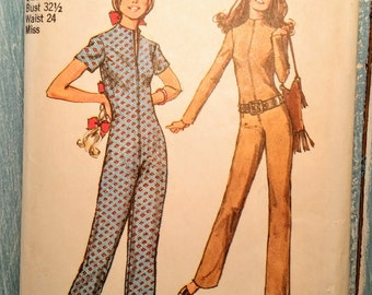 70's Jumpsuit Sewing Pattern by Simplicity 9142 Misses' Size 10