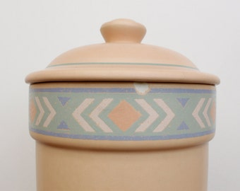 Large Treasure Craft Pastel Peach Southwestern Style Storage Jar