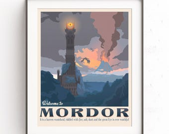 Mordor Illustration. The lord of the rings. Retro travel poster. Nazgul design. Middle earth. Eye of Sauron. Two towers painting. Gollum