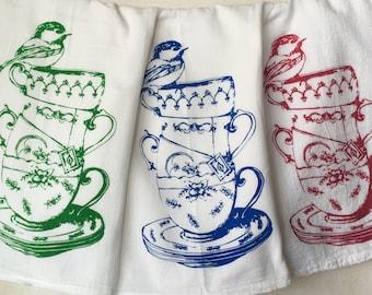 Tea cup Bird Screenprint Tea towel