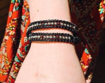 Black wraparound bracelet, wraparound ankle bracelet, boho