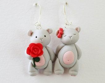 Cute teddy bear earrings, bear earrings, grey bear earrings, mismatched earrings, statement earrings, polymer clay earrings, nickel free
