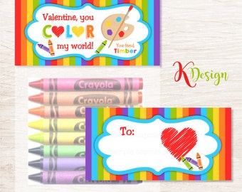 Valentine, You Color My World Treat Bag Topper Printable