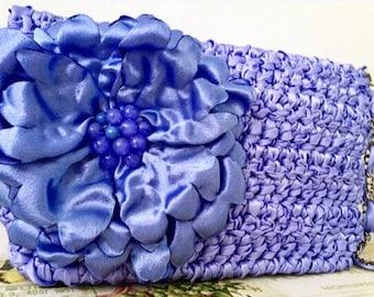 Purse with Flowers Blue Wedding Clutch Satin Clutch Flower Clutch Blue Bag Clutch Bag Womens Handmade Clutch Satin Bridal Clutch