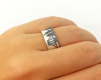 New York State Silver Band Ring, New York City Ring, New York City Band Ring, New York City Jewelry, State Ring, Town Ring, I Love New York