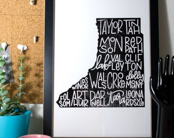 Custom Rural County Map - Made To Order - 11 by 14 - Poster Size - Handlettered - Black & White