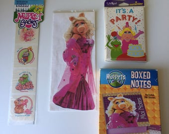 Vintage Muppets Miss Piggy stationary Muppet Babies stickers Birthday invitations