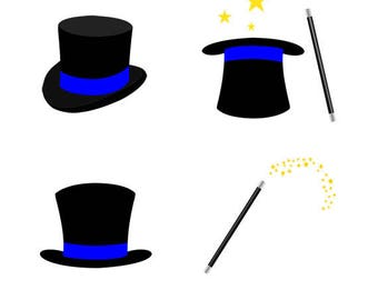 Magic Hat and Wand Clip Art Set