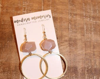 Pink and Gold Hoop Earrings