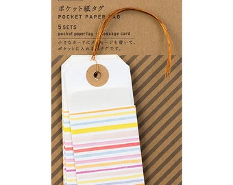 Paper pocket tags, Gift labels, Colorful gift tags, Hang craft tags, Pocket tags with string, Midori Japan