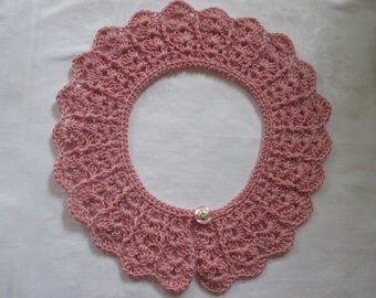 Crochet collar lace Peter Pan collar PINK cotton crocheted selfmade