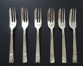 Angora Pastry Forks Silver Plated Made in England Set of 6
