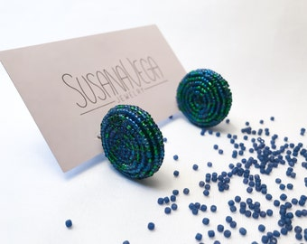 Dark Blue and green beadwork handmade earrings with a unique style! It's  a statement piece
