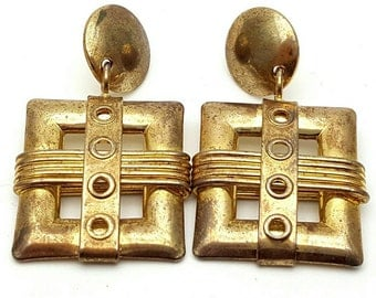 Gold tone Metal Drop Earrings Vintage Punk Rock from the 90s Steampunk Mechanical Industrialization Hard core Electrical Grunge Belt Buckle