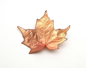 Modern Copper tone Metal Maple Leaf Brooch Vintage from the 90s Emblem Symbol Tree Runway Statement Jewelry Fall Leafy Leaves falling