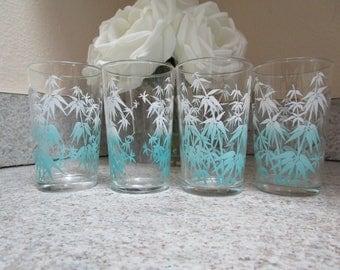 Vintage Blue And White Bamboo Juice Glasses / Set Of Four / Retro Juice Tumblers