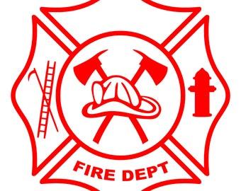 Maltese Cross Fire Dept Logo w/Hook, Ladder, Hydrant, Hat, Pulaski – SVG Cut File (mtc, svg, pdf, eps, ai, dxf, png & jpg) ~ DIGIDOWN051