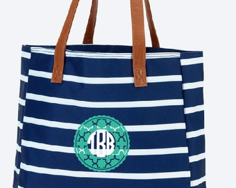 Mongram, Personalize Striped Spring Summer Totes Southern Style custom made cat, turtle, mason jar, mandala, blue line bows your design