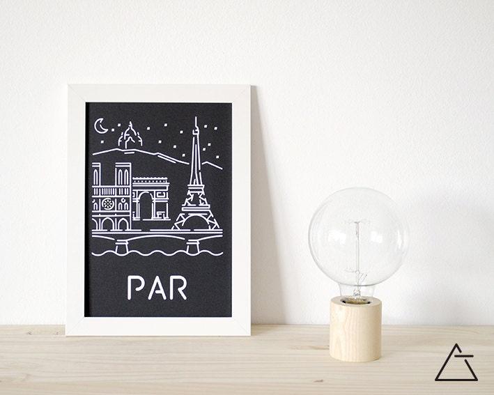 Paris ville a4 papercut art minimal art noir et blanc for Art minimal livre