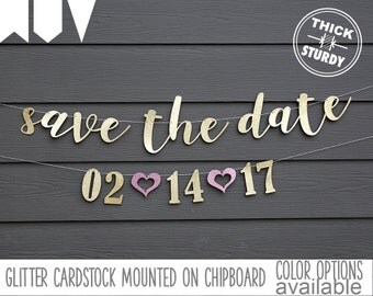 save the date banner, Engagement party, wedding invitation, gold glitter party decorations, cursive banner